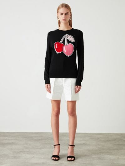 Intarsia Sequin Cherry Natalie Jumper