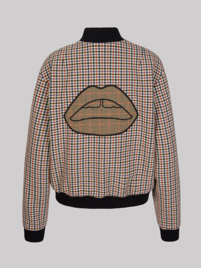 Embroidered Lip Check Charlotte Bomber Jacket