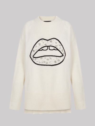 Jewelled Floral Lip Holly Jumper