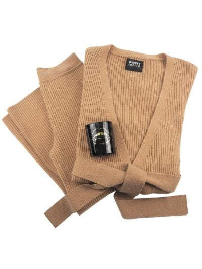 Cashmere Blend Luxe Loungewear and Candle Gift Set - Camel
