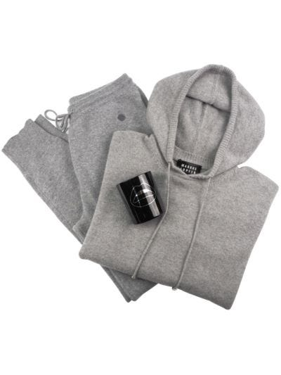 Cashmere Blend Luxe Loungewear and Candle Gift Set - Grey