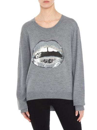 Joey Tonal Sequin Lara Lip Oversized Jumper
