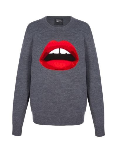 Natalie Intarsia Lara Lip Relaxed-Fit Jumper