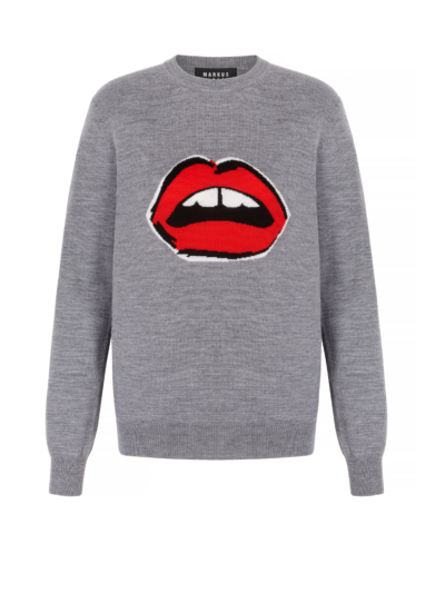 Mia Painted Lip Intarsia Slim-Fit Jumper