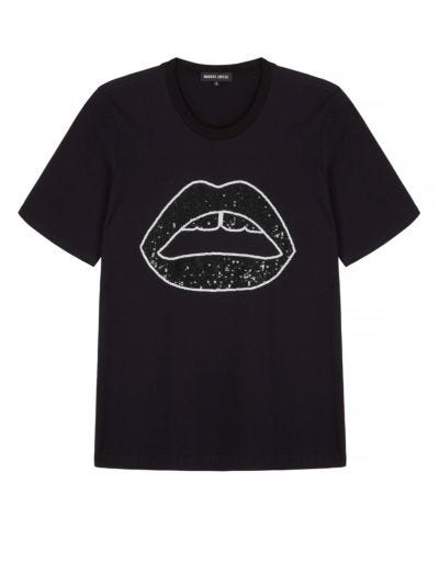 Alex Relaxed-Fit Sequin Tonal Lip Tee
