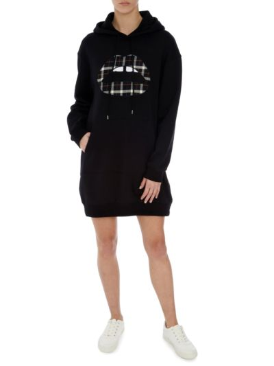 Lucie Check Lip Oversized Hoodie Dress