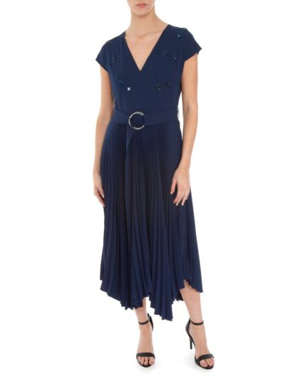 Gemma Arrow Embellished Pleated Dress