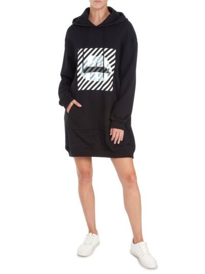 Lucie Diagonal Stripe Lip Hoodie Dress