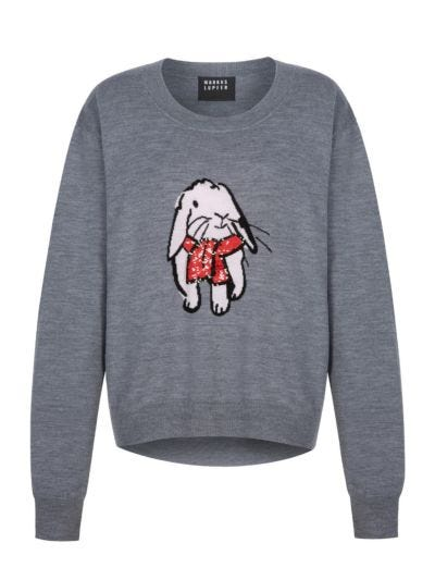 Joey Sequin Cosy Bunny Oversized Jumper
