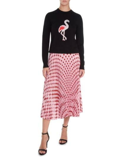 Mia Sequin Flamingo Slim-Fit Jumper