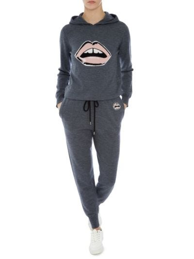 Mia Painted Lip Knit Slim-Fit Hoodie