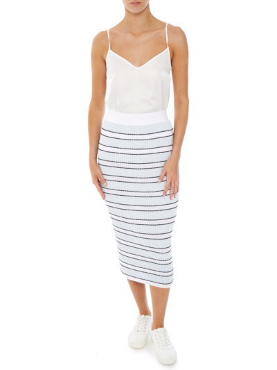 Georgie Stripe Plisse Pencil Skirt