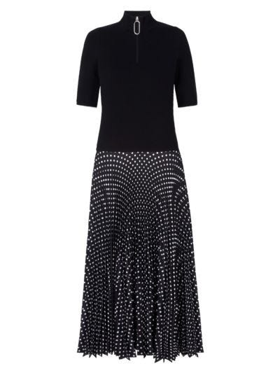 Marine Knit Pleat Polka Dot Dress