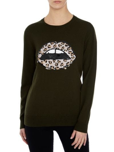 Natalie Sequin Leopard Lip Relaxed-Fit Jumper