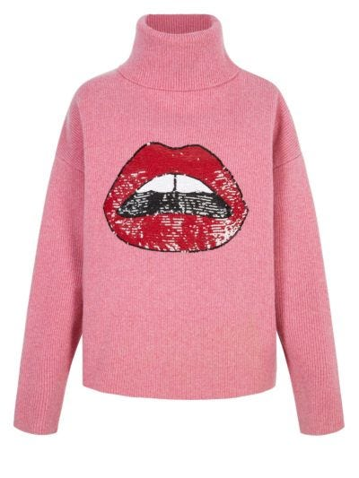 Elinor Sequin Lip Rib Oversized Roll Neck