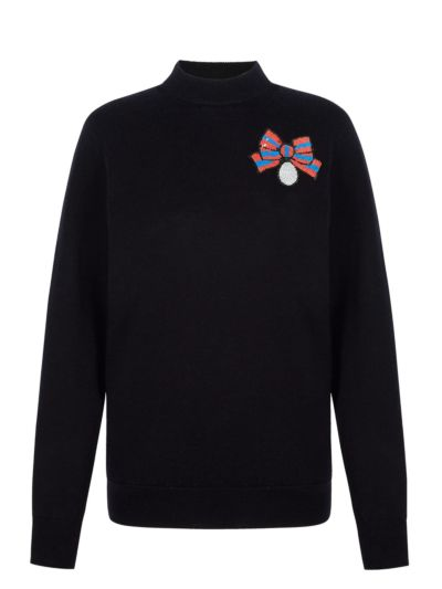 Mia Sequin Medal Bow Slim-Fit Jumper