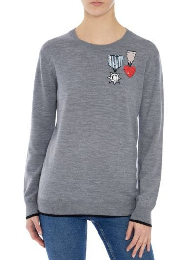 Natalie Sequin Medals Relaxed-Fit Jumper