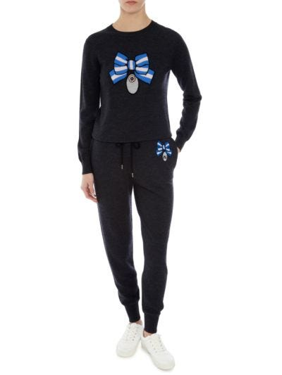 Knit Sequin Medal Bow Jogger