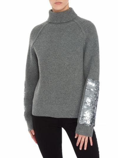Frankie Sequin Panel Rib Relaxed-Fit Rollneck