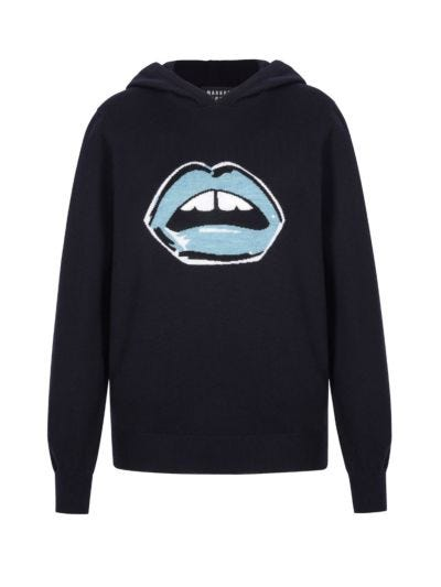 Mia Slim-Fit Painted Lip Knit Hoodie