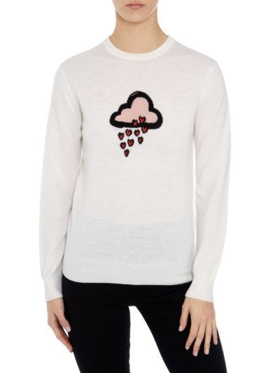 Mia Cloud Heart Intarsia Slim-Fit Jumper