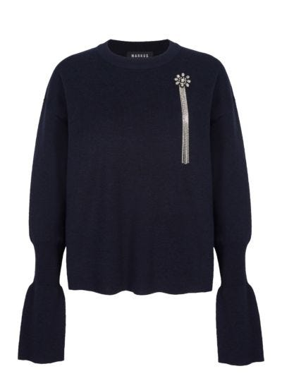 Nina Crystal Flower Relaxed-Fit Jumper