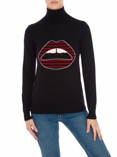 Emma Intarsia Stripe Lip Relaxed-Fit Poloneck