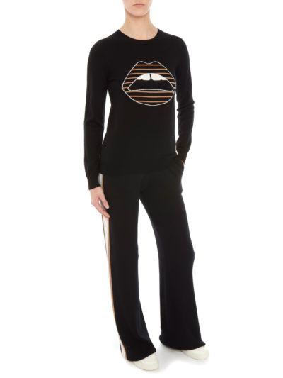 Emma Intarsia Stripe Lip Skinny-Fit Jumper