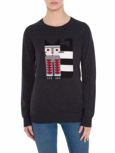 Natalie Intarsia Full Cat Relaxed-Fit Jumper