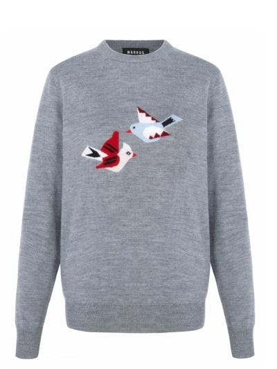 Mia Intarsia Bird Slim-Fit Jumper