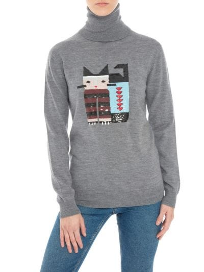 Natalie Sequin Cat Relaxed-Fit Rollneck
