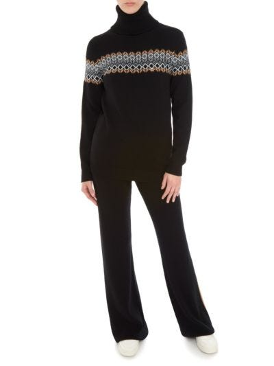 Natalie Sequin Border Relaxed-Fit Roll Neck