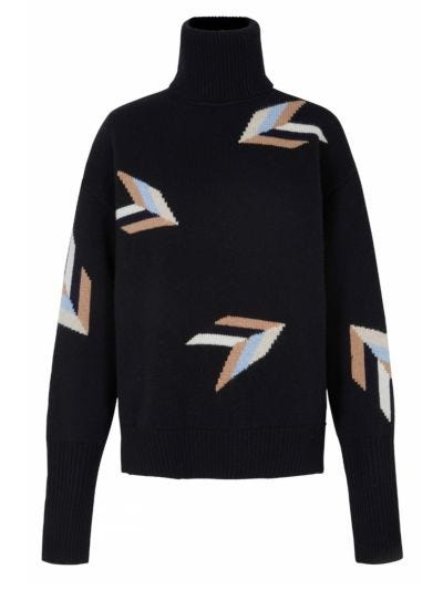 Megan Intarsia Arrow Oversized Roll Neck