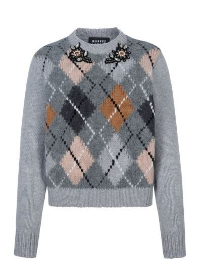 Lucie Argyle Crystal Flower Slim-Fit Jumper