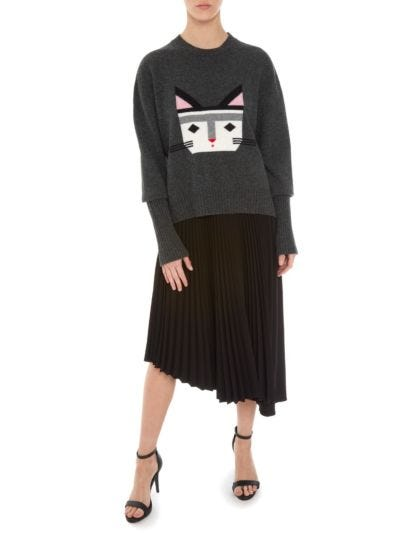 Megan Intarsia Wild Cat Oversized Jumper