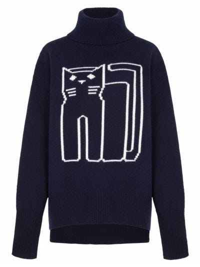 Erin Intarsia Cat Outline Oversized Roll Neck