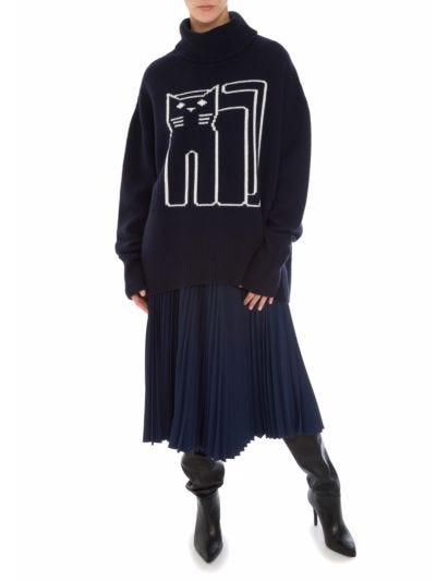 Erin Intarsia Cat Outline Oversized Rollneck