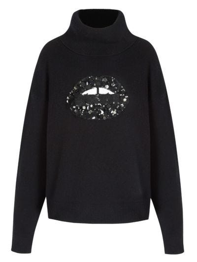 Elinor Sequin and Jewel Lip Oversized Rollneck