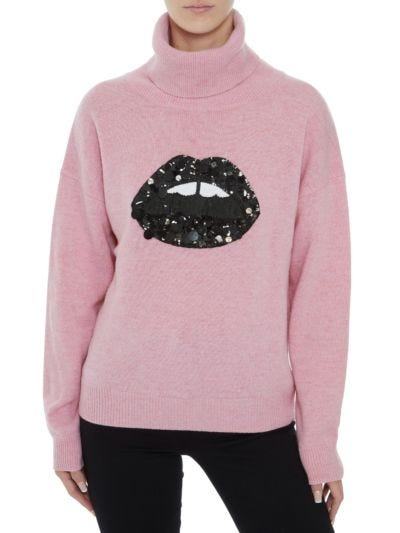 Elinor Sequin and Jewel Lip Oversized Roll Neck