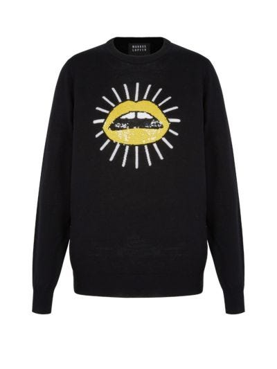 Mia Sun Lip Sequin Slim-Fit Jumper