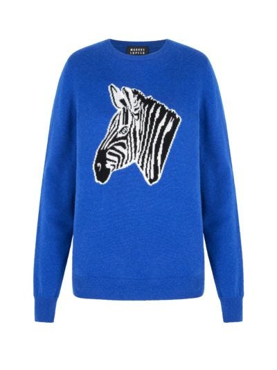 Mia Zebra Cashmere Slim-Fit Jumper