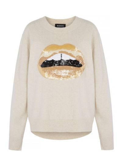 Joey Sequin Tonal Lip Oversized Jumper