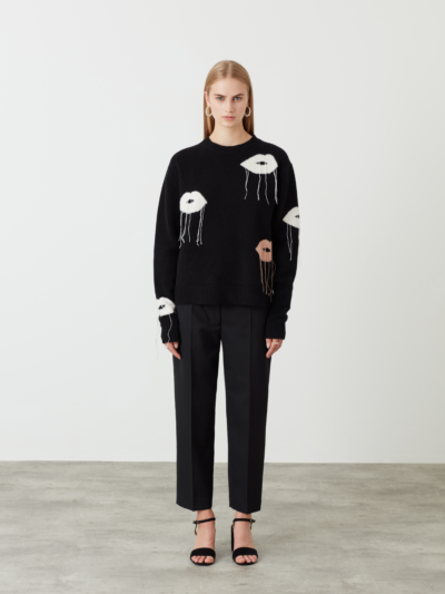 Intarsia Fringed Lip Jamie Jumper