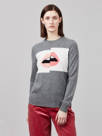 Cashmere Intarsia Shifted Lip Mia Jumper