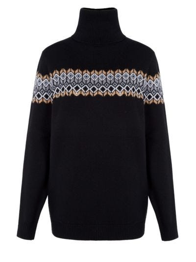 Natalie Sequin Border Relaxed-Fit Rollneck