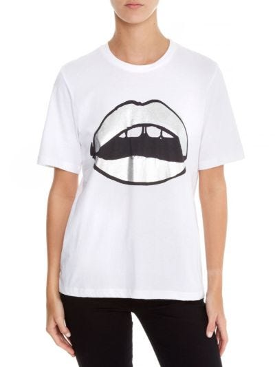 Alex Painted Metallic Lip Relaxed-Fit Tee