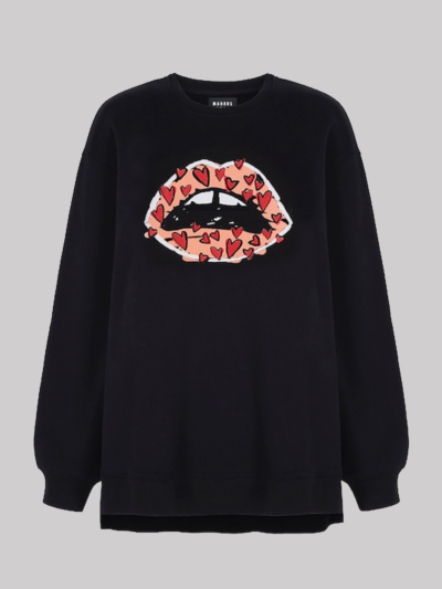 Flocked Heart Lip Josie Sweatshirt