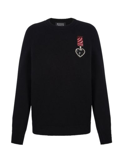 Mia Jewel Heart Medal Slim-Fit Jumper