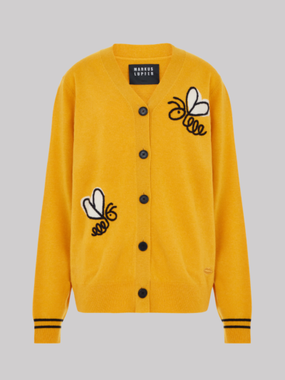 Embroidered Intarsia Bumble Bee Bella Cardigan