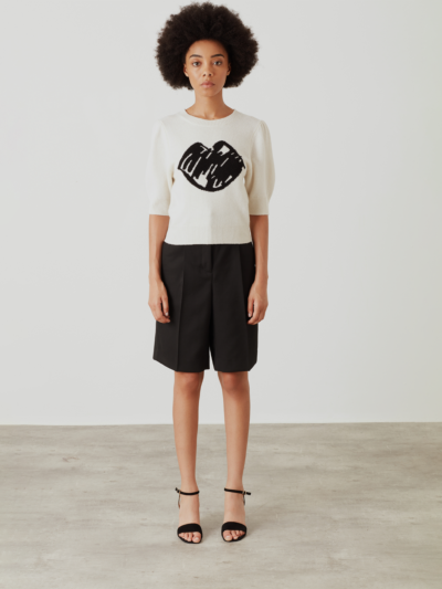 Intarsia Sketch Lip Short Sleeve Laura Jumper